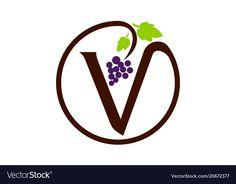 Letter v grape modern vector image on VectorStock V Logo Design, Wine Logo, Letter V, Adobe Illustrator, Vector Free, Pdf, Illustration, Modern, Wine