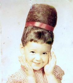 haha so cute....a texas girl's old school pic A real beehive updo!!