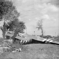 A Horsa glider near the Caen Canal bridge at Benouville, 8 June 1944. This is glider No. 91, which carried Major John Howard and Lieutenant Den Brotheridge with No.1 Platoon, 'D' Company, 2nd Battalion Oxfordshire and Buckinghamshire Light Infantry. It was one of the six gliders that carried 6th Airborne Division's 'coup de main' force - commanded by Major Howard - which captured the bridges over the Orne and Caen Canal in the early hours of D-Day.