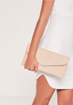 FAUX SUEDE ENVELOPE CLUTCH BAG NUDE #style #fashion #design #trend #onlineshop #shoptagr