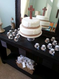 Baptism Party cake and favors! See more party planning ideas at CatchMyParty.com!