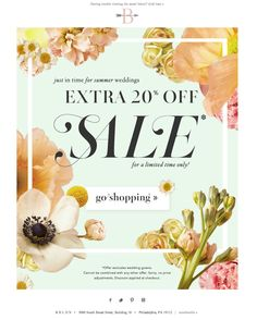 #newsletter BHLDN 07.2014 EXTRA 20% OFF SALE STARTS NOW.
