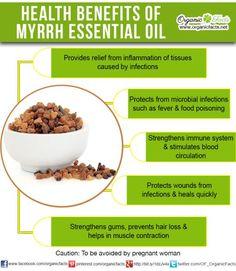 Health Benefits of Myrrh Essential Oil: The health benefits of Myrrh Essential Oil can be attributed to its properties as an antimicrobial, astringent, expectorant, antifungal, stimulant, carminative, stomachic, anticatarrhal, diaphoretic, vulnerary, antiseptic, immune booster, circulatory, tonic, anti-inflammatory and antispasmodic.