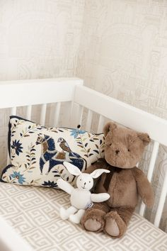 Project Nursery - Gold globetrotter wallpaper for the gender-neutral little traveler.