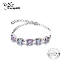 JewelryPalace 6ct Concave Oval Mystical Rainbow Topaz Bracelet Solid 925 Sterling Silver Charm Vintage Jewelry For Women