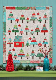 """""""Let It Snow""""Christmas quilt pattern at Anka's Treasures. July 2015. Made with """"Evergreen"""" by Basic Grey for Moda fabrics."""