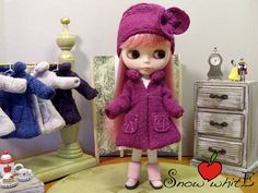 Raspberry pink wool coat with cap for di SnowhitEfashion4doll, $50.00
