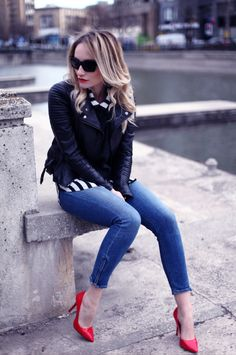 jeans, leather jacket & red heels outfit