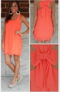 Sleeveless Chiffon Dress with bow detailing, in orange
