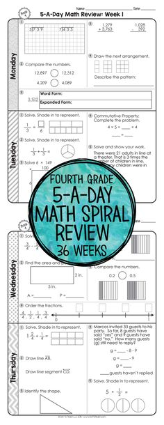 36 weeks of daily Common Core math review for fourth grade! Preview and Review important 4th grade math concepts all year long! Perfect for homework, morning work, or test prep! 5-A-Day: 5 tasks a day, M-Th. CCSS M.4 Available for 3rd - 6th grades! $
