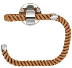 NAUTILUXE COLLECTION Nautical Rope Paper Holder with polished chrome fittings. Four Rope Colors: Natural, Navy, Black & Brown Gold fittings also available. Nautical Looks, Nautical Rope, Nautical Theme, Nautical Gifts, Nautical Bathrooms, Beach Bathrooms, Lake Bathroom, Bohemian Bathroom, Master Bathroom
