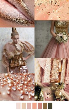 Pink gold peach F/W 2016 Colour Schemes, Color Trends, Color Patterns, Color Combinations, Color Palettes, Pink Gold Peach, Pink Und Gold, Rose Gold, 2016 Fashion Trends