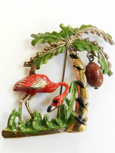 Huge Vintage 1940s Flamingo and Palm Tree Brooch