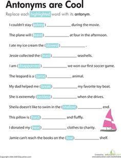 Using Antonyms For Context Clues Antonyms Context Clues School