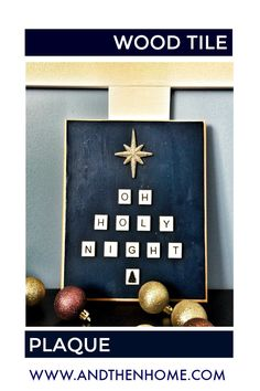 Don't throw away those old game pieces; turn them into this simply stunning Christmas decoration. #Christmas #holynight #woodtileletters