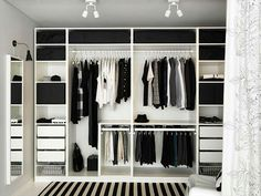 PAX Ikea dressing idea: a shelf to separate the 2 parts wardrobes, po . - Ikea DIY - The best IKEA hacks all in one place Wardrobe Organisation, Wardrobe Storage, Bedroom Storage, Bedroom Decor, Wall Storage, Organization, Wardrobe Design Bedroom, Bedroom Wardrobe, Wardrobe Closet