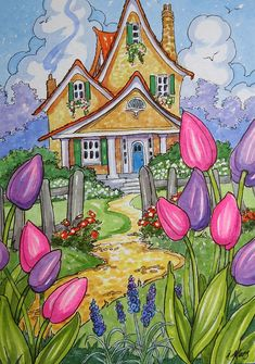 """Daily Paintworks - """"Tis Tulip Time Little Storybook Cottage Series"""" - Original Fine Art for Sale - © Alida Akers Cute Cottage, Cottage Art, Watercolor Paintings, Original Paintings, Owl Paintings, Storybook Cottage, Am Meer, Naive Art, Whimsical Art"""