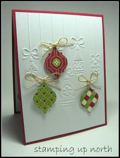 Mosaic Madness Christmas card uses Stampin' Up's Mosaic Madness punch and Cuttlebug Strung Ornaments embossing folder.