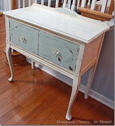 Beautiful petite buffet painted in custom Duck Egg blue mix and Old White Annie Sloan Chalk Paint.. Uniquely Yours or Mine