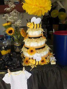 Bee theme diaper cake