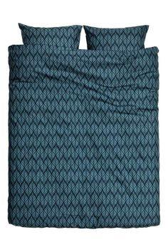 Parure de couette à motif: Parure de couette lit double en fil de coton fin à…
