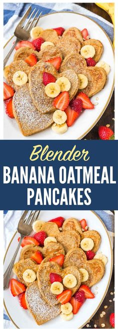 Easy Blender Banana Oatmeal Pancakes. NO butter, no sugar, no flour, and no oil! Light, fluffy, and gluten free. Made with Greek yogurt for protein and honey for sweetness. Make these healthy oat pancakes into heart shapes for a Valentine's Day or anniversary breakfast, or cook them as-is. You'll love this recipe! Recipe at wellplated.com | @wellplated