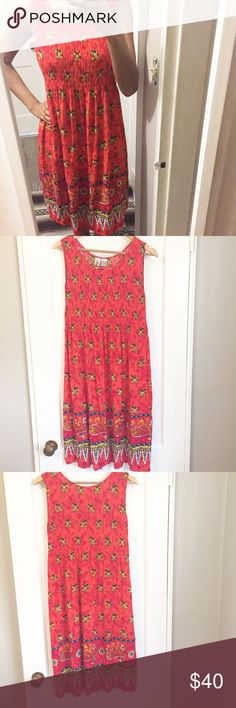 Red Boho Elephant Printed Dress In Great Condition/ Size says Free Size/ Feel free to make a reasonable offer or add to a bundle for 15% 😃 Dresses Midi