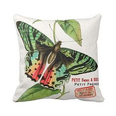 Pillow Cover Green Springtime Butterfly