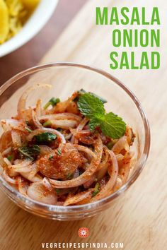 Masala onion salad is a spicy mix of onions, lemon juice, and spices to create a delicious Indian si Onion Recipes, Chutney Recipes, Veg Recipes, Salad Recipes, Vegetarian Recipes, Cooking Recipes, Healthy Recipes, Recipies, North Indian Recipes