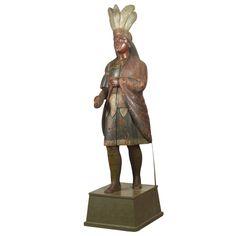 Cigar Store Indian, Sculptures For Sale, Wood Carvings, Interesting Stuff, Cigars, Cool Furniture, Vintage Shops, Feathers, Folk Art