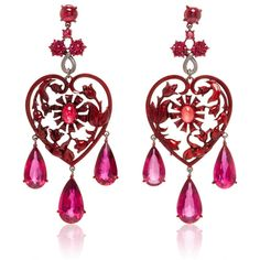 Lydia Courteille Scarlet Empress Collection Red Sapphire Earrings (1,325,840 PHP) ❤ liked on Polyvore featuring jewelry, earrings, accessories, red jewellery, sapphire jewellery, chandelier earrings, valentines day jewelry and lydia courteille jewelry