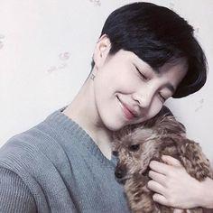 Feel lose with a dog?:v hahaha //kim yoon rei Korean Boys Ulzzang, Cute Korean Boys, Ulzzang Boy, Korean Men, Asian Boys, Asian Men, Lee Yoon Ji, Yoon Park, Korean Boy Hairstyle