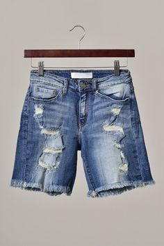 Distressed Denim Shorts-Longer