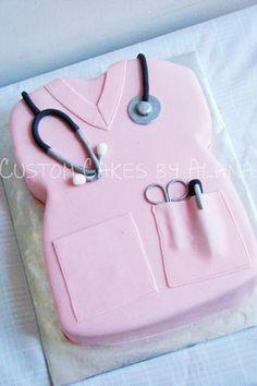 Nurses cake - pink scrubs