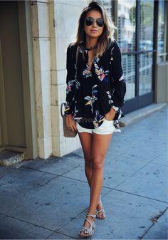 European Style Fashion Ladies Women Long Sleeve O-neck Floral Top Blouse