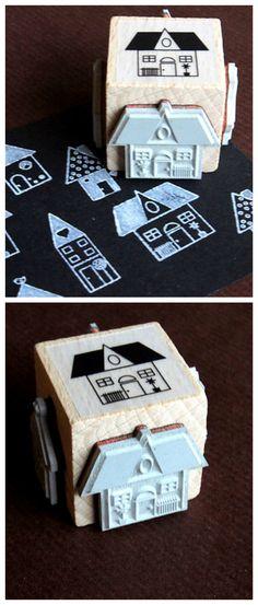 Stempel mit vier verschiedenen Häusern, zum Verzieren von Geschenken und Karten / cute four sided stamp with tiny houses, gift wrapping made by HandThinx via DaWanda.com