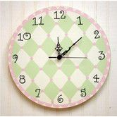 Found it at Wayfair - Harlequin Wall Clock in Pink / Green