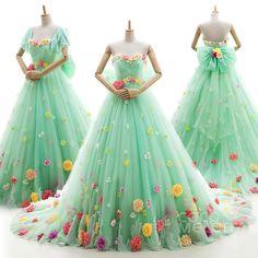 カラードレス プリンセスライン ミントグリーン お花散りばめ 袖付き ソフトチュール 人気新作 リボン ld4182