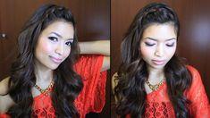 ♥ Braided Bangs and Voluminous Curls Hairstyle for Medium Long Hair Tuto...