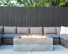 Beat the cold nights and gather around one of our handcrafted concrete fire pits, a must for any backyard entertaining. With its subtle wood grain, our Buckshot fire pit gives just the right amount of texture while still keeping its sleek appearance Fire Pit Backyard, Backyard Patio, Backyard Landscaping, Backyard Ideas, Backyard Seating, Patio Ideas, Landscaping Ideas, Outdoor Fire, Outdoor Living
