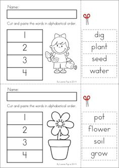 Kindergarten SPRING Math & Literacy unit. 93 pages in total. A page from the unit: alphabetical order