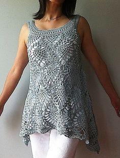 The Crochet Awards 2015 Judges' Nominee - Best Tank/Sleeveless Tunic Top - Jordan - sleeveless pineapple top pattern by Vicky Chan
