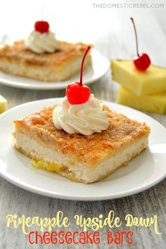 These Pineapple Upside Down Cheesecake Bars are such a fun spin on the classic cake! This EASY recipe takes minutes to prepare and features rich brown sugar, juicy pineapple, creamy cheesecake and a brown sugary crust that's positively irresistible! Thermomix Desserts, Easy Desserts, Dessert Recipes, Cheesecake Bars, Cheesecake Recipes, Pineapple Upside Cake, Cream Cheese Crescent Rolls, Gateaux Cake, Classic Cake
