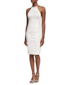 GALVAN Embellished-Collar Sleeveless Sheath Dress, Ivory. #galvan #cloth #