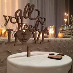 All you need is love cake topper wood rustic