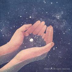 universe hands moon stars illustration