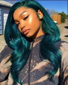 Wig Styles, Curly Hair Styles, Natural Hair Styles, Blue Natural Hair, Ponytail Styles, Curly Wigs, Human Hair Wigs, Best Lace Front Wigs, Blue Lace Front Wig