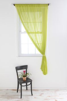 Hang one curtain on each window? Floor length of course.  Hang straight or tie?
