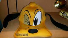 177497a490f NEW Disney Parks PLUTO Face BIG Foam Bill Ears Baseball Hat Cap! Mickey s  Dog!
