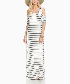 Look at this #zulilyfind! Ivory & Black Colder Shoulder Maxi Dress #zulilyfinds